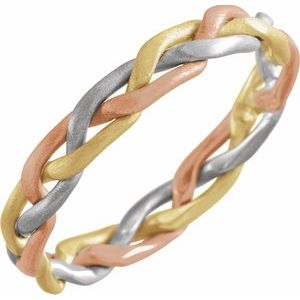14K Tri-Color 3.5 mm Hand-Woven Band Size 5-50128:216732:P-ST-WBC