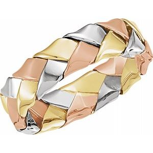 14K Tri-Color 5.5 mm Woven Band Size 5-50122:216752:P-ST-WBC