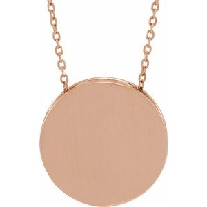 "14K Rose 17 mm Scroll Disc 16-18"" Necklace-86634:607:P-ST-WBC"
