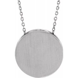 "14K White 17 mm Scroll Disc 16-18"" Necklace-86634:605:P-ST-WBC"