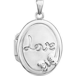 Sterling Silver Oval Love Locket-28930:1000:P-ST-WBC