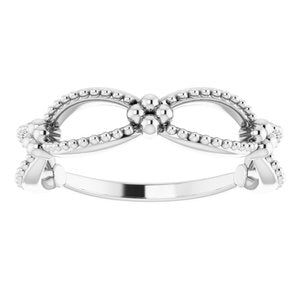 Sterling Silver Beaded Stackable Ring -51836:105:P-ST-WBC