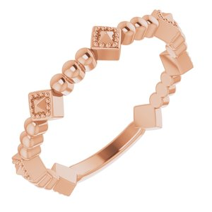 14K Rose Stackable Pyramid Ring -51833:103:P-ST-WBC