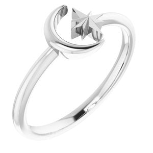 14K White Crescent Moon & Star Negative Space Ring  -51847:101:P-ST-WBC