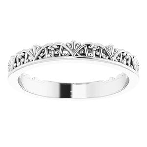 14K White Stackable Crown Ring -51848:101:P-ST-WBC