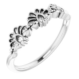 Sterling Silver Vintage-Inspired Stackable Ring -51859:105:P-ST-WBC