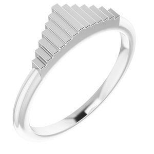 14K White Geometric Stackable Ring   -51855:101:P-ST-WBC