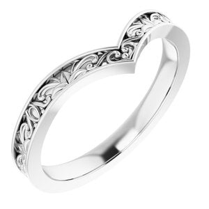 "Sterling Silver Vintage-Inspired ""V"" Ring  -51882:105:P-ST-WBC"