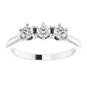 Platinum 1/2 CTW Diamond Three-Stone Anniversary Band -123903:607:P-ST-WBC