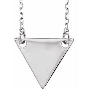 "Sterling Silver Geometric 18"" Necklace-86560:108:P-ST-WBC"