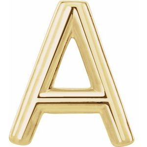 14K Yellow Single Initial A Earring-86800:102:P-ST-WBC