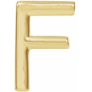 14K Yellow Single Initial F Earring-86800:132:P-ST-WBC