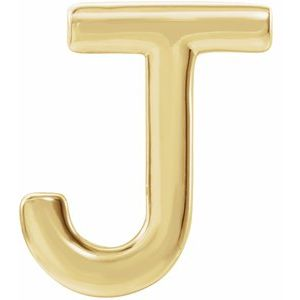 14K Yellow Single Initial J Earring-86800:156:P-ST-WBC