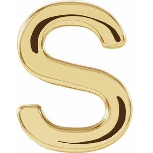 14K Yellow Single Initial S Earring-86800:210:P-ST-WBC