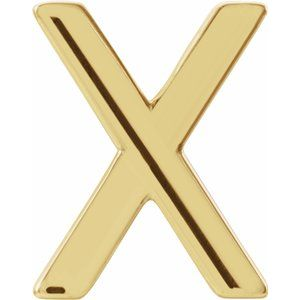 14K Yellow Single Initial X Earring-86800:240:P-ST-WBC