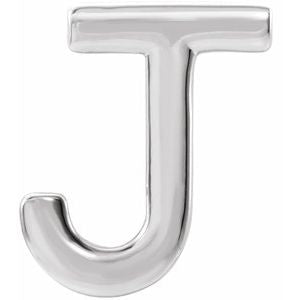Sterling Silver Single Initial J Earring-86800:159:P-ST-WBC