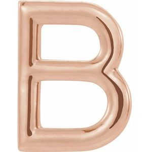 14K Rose Single Initial B Earring-86800:109:P-ST-WBC