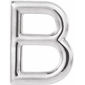 14K White Single Initial B Earring-86800:107:P-ST-WBC