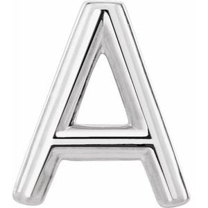 Sterling Silver Single Initial A Earring-86800:105:P-ST-WBC