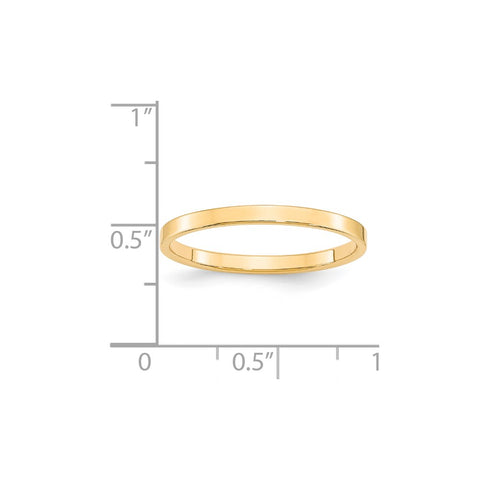 14KY 2mm LTW Flat Band Size 4-FLL020-4-WBC