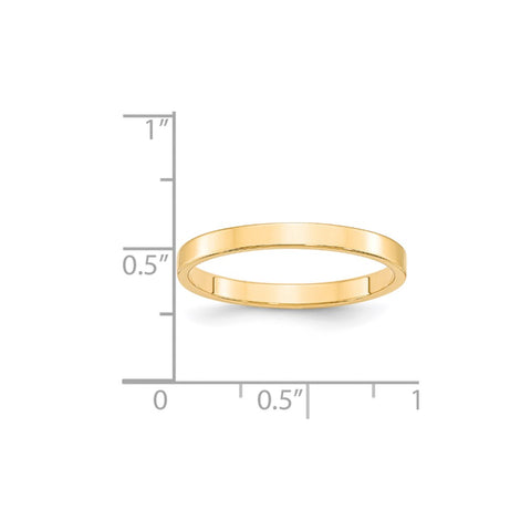 14KY 2.5mm LTW Flat Band Size 4-FLL025-4-WBC