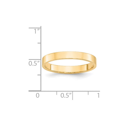 14KY 3mm LTW Flat Band Size 4-FLL030-4-WBC