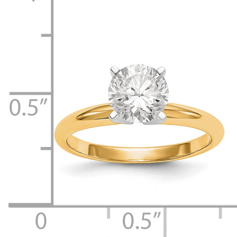 14k Two-Tone 1ct. Lightweight 4-Prong Solitaire Ring Mounting / WBCKS1-1