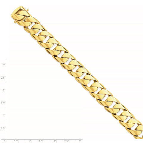 14k 15.4mm Hand-polished Rounded Curb Link Chain-WBC-LK471-22