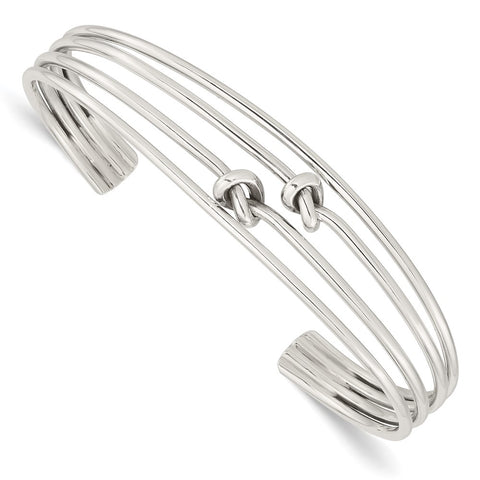 Sterling Silver Polished 4 Band Knots Cuff Bangle-QB1373-WBC