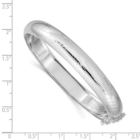 Sterling Silver Rhodium-plated 9.5mm Fancy Hinged Bangle Bracelet-WBC-QB32