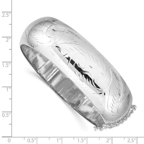 Sterling Silver Rhodium-plated 20mm Hinged Bangle Bracelet-WBC-QB35