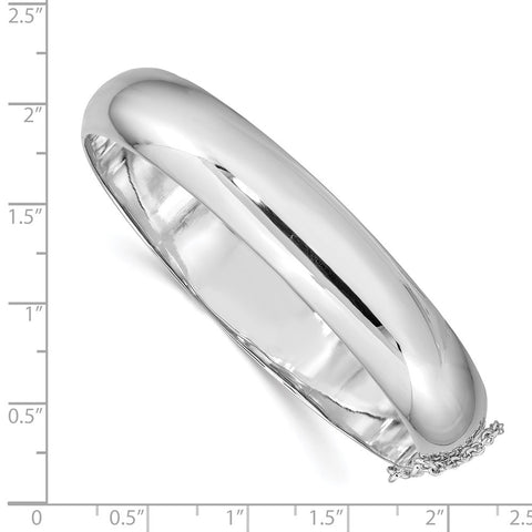 Sterling Silver Rhodium-plated 12.00mm Hinged Bangle Bracelet-WBC-QB40