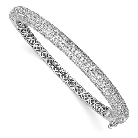 Sterling Silver PavÇ Rhodium-plated 283 Stone CZ Bangle-WBC-QB666