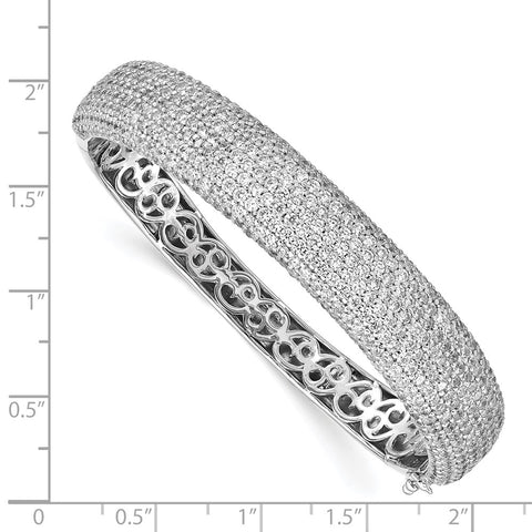 Sterling Silver PavÇ Rhodium-plated 504 Stone CZ Hinged Bangle-WBC-QB668