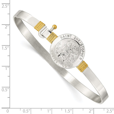 Sterling Silver w/14k Yellow Gold Accent St. Christopher Bangle-WBC-QB752