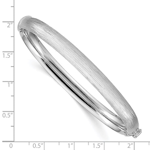 Sterling Silver Rhodium-plated 6.5mm Textured Hinged Bangle-WBC-QB904