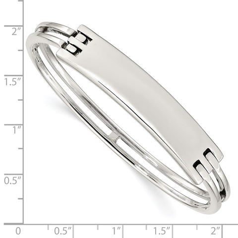 Sterling Silver ID Hinged Bangle-WBC-QB908
