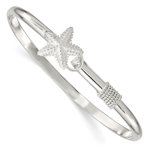 Sterling Silver Polished and Textured Starfish Bangle-WBC-QB910