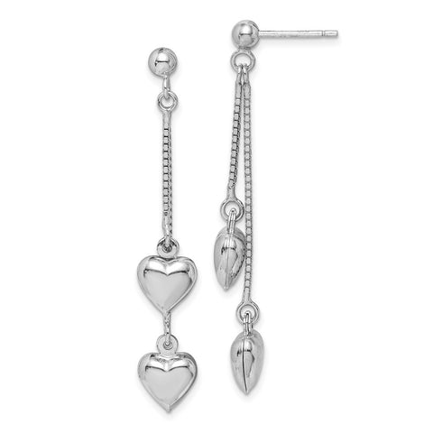 Sterling Silver Rhodium-plated Polished Heart Post Dangle Earrings-WBC-QE11392