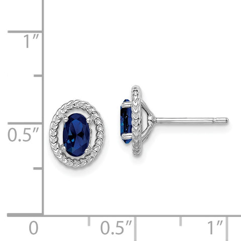 Sterling Silver Rhod-plat Create Sapphire Oval Post Earrings-WBC-QE14494SEP