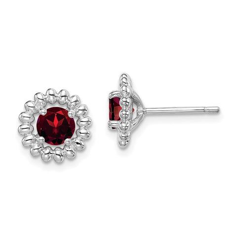 Sterling Silver Rhod-plat Garnet Earrings-WBC-QE14495JAN