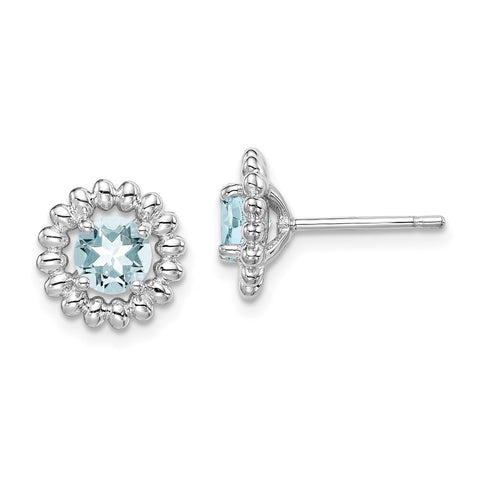 Sterling Silver Rhod-plat Aquamarine Earrings-WBC-QE14495MAR