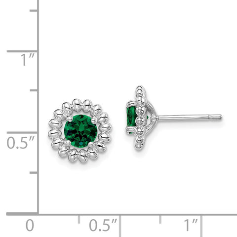 Sterling Silver Rhod-plat Created Emerald Earrings-WBC-QE14495MAY