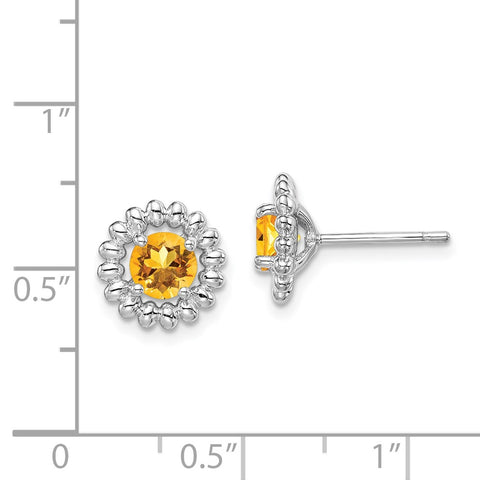 Sterling Silver Rhod-plat Citrine Earrings-WBC-QE14495NOV