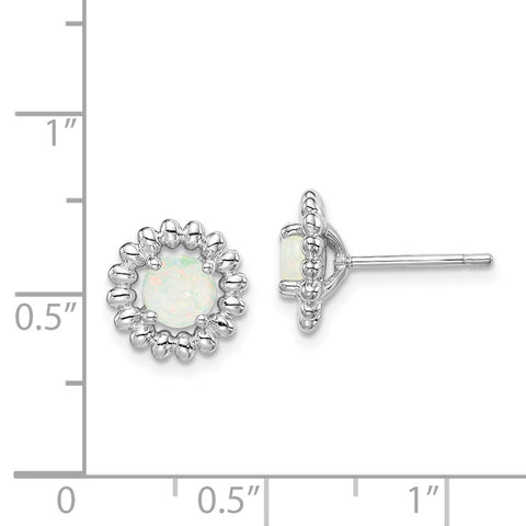 Sterling Silver Rhod-plat Milky Opal Earrings-WBC-QE14495OCT