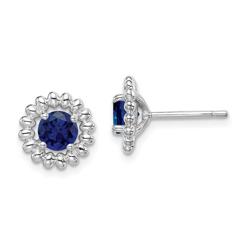 Sterling Silver Rhodium-plated Created Sapphire Earrings-WBC-QE14495SEP