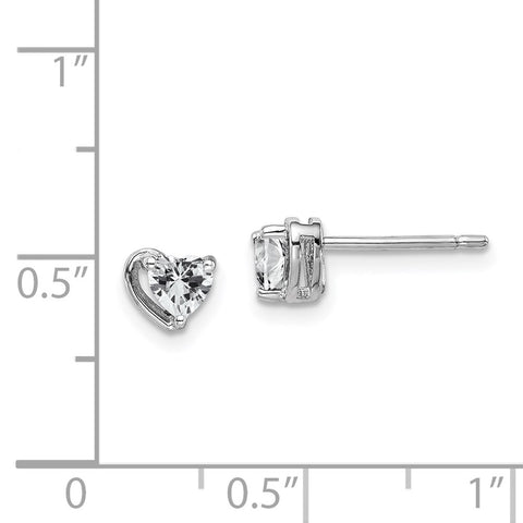 Sterling Silver Rhod-plated White Topaz Heart Post Earrings-WBC-QE14916APR