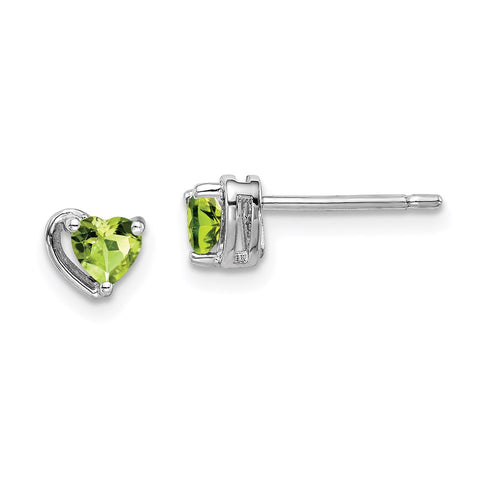 Sterling Silver Rhod-plated Peridot Heart Post Earrings-WBC-QE14916AUG