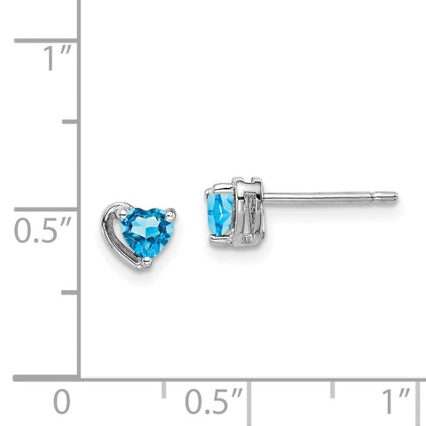 Sterling Silver Rhod-plated Light Swiss Blue Topaz Heart Post Earrings-WBC-QE14916DEC