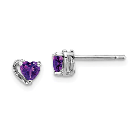 Sterling Silver Rhod-plated Amethyst Heart Post Earrings-WBC-QE14916FEB